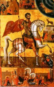 Icone russe du 17ème siècle, reprenant certains symboles de la légende (wikimédia)